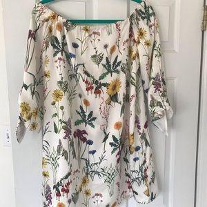 Anthropology floral off the shoulder dress!